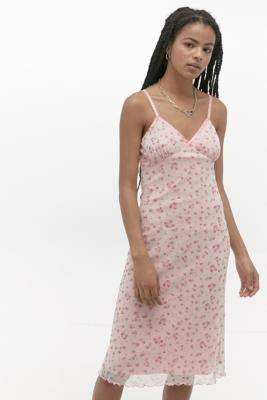 Urban Renewal Vintage Urban Outfitters Archive Pink Floral Mesh Midi Dress - Pink XS at Urban Outfitters