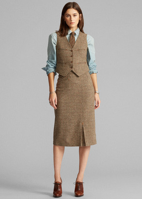 Ralph Lauren Donegal Tweed Wool-Blend Skirt