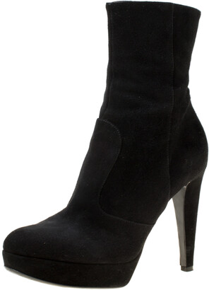 Sergio Rossi Black Suede Platform Ankle Boots Size 36.5