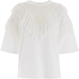 See by Chloe TASSEL T-SHIRT L White Cotton