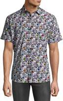 Jared Lang Men's Floral Short Sleeve Button Down Shirt