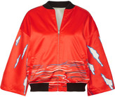 Opening Ceremony Reversible Printed Silk-satin Bomber Jacket - Tomato red
