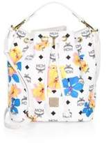 MCM Floral Print Drawstring Bucket Bag
