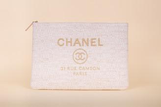 Chanel Woven Raffia Large Deauville Pouch