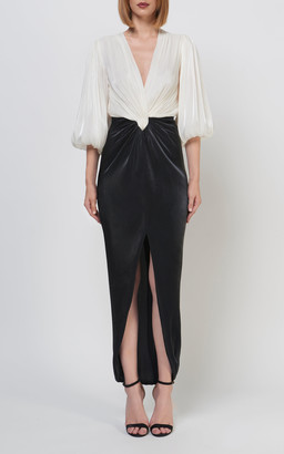 Costarellos Kinsey Iridescent Lurex-Georgette Blouson Dress