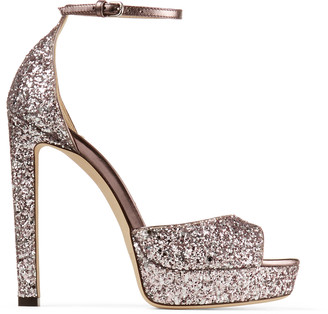 Jimmy Choo PATTIE 130 Light Lilac Course Glitter Fabric Open Toe Platform Sandals