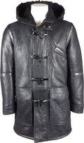 Unicorn London UNICORN Mens Hooded Sheepskin Duffle Coat With Fur Real Leather Jacket #GR (XL)