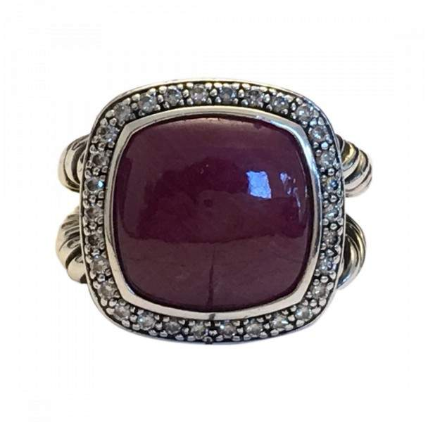 David Yurman 925 Sterling Silver Ruby and Diamond Ring Size 6
