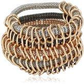 Steve Madden Tri Tone Multi Row Mesh Stretch Cuff Bracelet