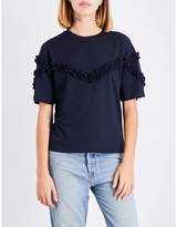 Maje Tournoi frilled-trim jersey T-shirt