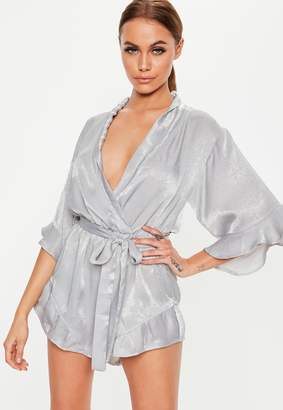 Missguided Grey Satin Kimono Ruffle Sleeve Playsuit