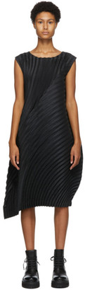 Issey Miyake Black Wool Circle Pleats Dress