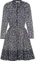 Maje Printed broderie anglaise cotton mini dress