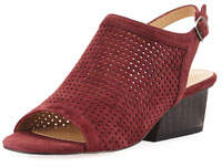Corrie Perforated Slingback Sandals Red