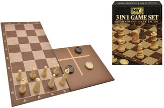 MY 3 In 1 Chess Draughts And Tic Tac Toe Game Set