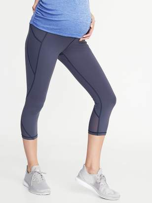 Old Navy Maternity High-Waisted Mesh-Trim Side-Pocket Compression Crops
