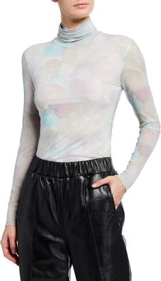 Ganni Watercolor Mesh Turtleneck