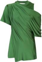 Monse draped cold-shoulder satin blouse