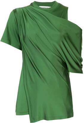 Monse Draped Shoulder Satin Blouse