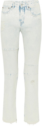 MM6 MAISON MARGIELA Distressed Printed Mid-rise Straight-leg Jeans
