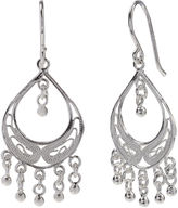 SILVER TREASURES Sterling Silver Filigree Fringed Teardrop Chandelier Earrings