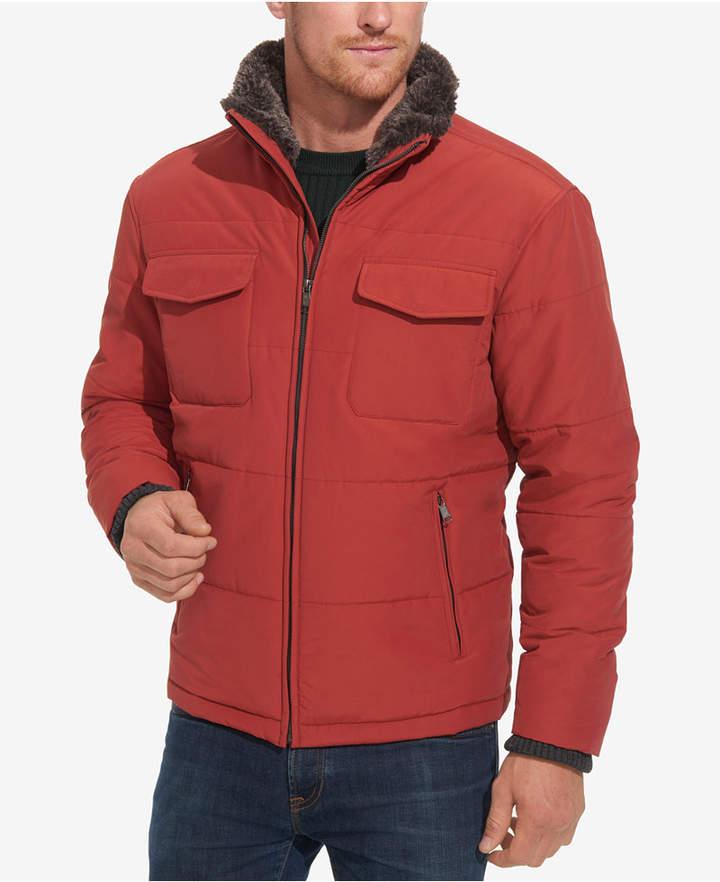 Weatherproof Men Full-Zip Puffer Jacket with Faux-Fur Trim