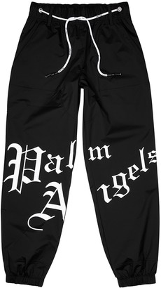 Palm Angels Black logo shell sweatpants