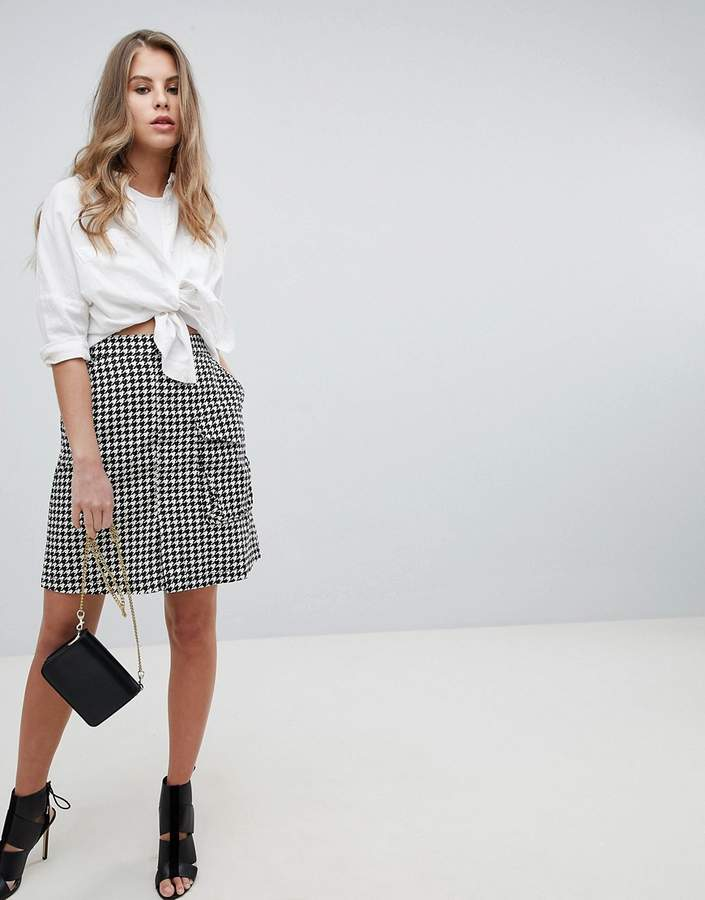 G Star G-Star Pharrell High Waist Skirt in Houndstooth