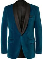HUGO BOSS Blue Hockley Slim-Fit Satin-Trimmed Velvet Tuxedo Jacket