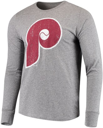 Majestic Men's Threads Heathered Gray Philadelphia Phillies Cooperstown Collection Tri-Blend Long Sleeve T-Shirt