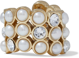 Ellery Coney Island Gold-tone, Faux Pearl And Crystal Ring