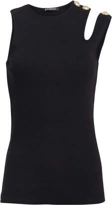 Balmain Asymmetric Rib Knit Button Tank