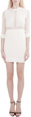 IRO White Silk Crepe Panelled Tina Mini Dress S