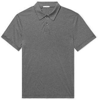 James Perse Melange Cotton And Cashmere-Blend Polo Shirt
