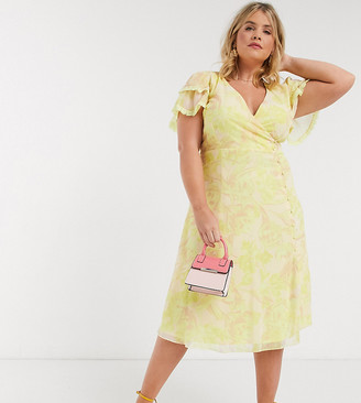 Little Mistress Plus wrap midi dress in lemon floral