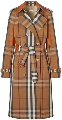 Burberry Rinham Check Cotton Belted Trench Coat