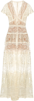 Elie Saab Butterfly-sleeved lace-panelled gown