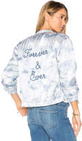 Paige Rosie HW x Flo Bomber Jacket in Blue