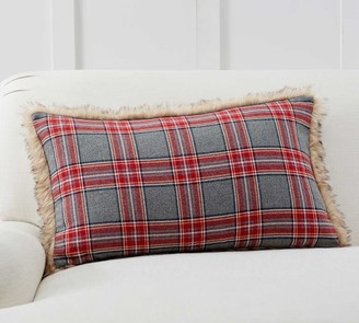 Pottery Barn Nottingham Plaid Faux Fur Back Lumbar Pillow Covers