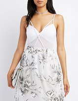 Charlotte Russe Strappy Mesh-Inset Bodysuit
