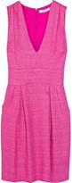 Deep Vee linen-blend dress
