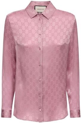 Gucci Gg Jacquard Silk Shirt