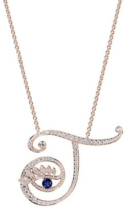 Tabayer Eye 18K Rose Gold, Sapphire & Diamond Transparent Pendant Necklace