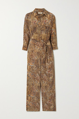 L'Agence Belted Printed Silk Crepe De Chine Jumpsuit - Brown