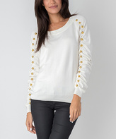 Yuka Paris Ivory Bell Scoop Neck Sweater