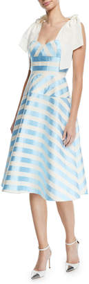 DELPOZO Sleeveless Bow-Strap Striped Mid-Calf Cocktail Dress