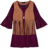 Amy Byer Girls' 3-Pc. Fringe Vest, Crochet Dress & Necklace Set