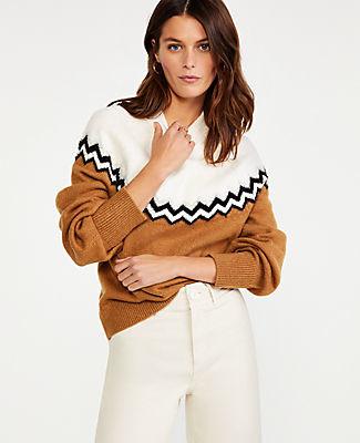 Ann Taylor Colorblock Fair Isle Sweater