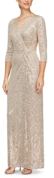 Alex Evenings Sequinned Surplice Gown