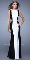 La Femme Contrast Cut Out Prom Dress